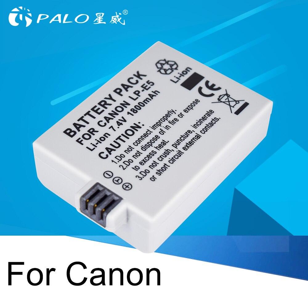 PALO 1 piezas 7,4 V 1800 mAh LP-E5 LP E5 LPE5 batería recargable, cámara Digital de batería de iones de litio para 450D 500D 1000D