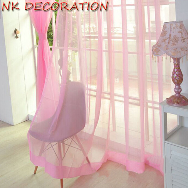 NK DECORATION Hot Sale 2PCS Pink Design Curtain Tulle For Living ...