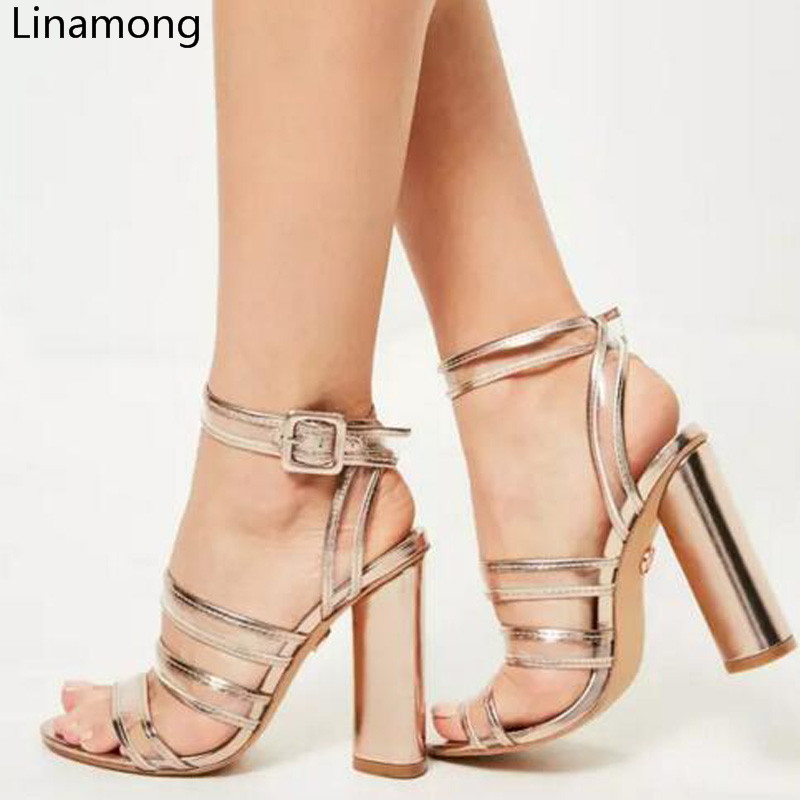 58ca9a30201 Aliexpress.com   Buy 2017 Fashion Summer Buckle Strap Open Toe Women Sandals  Wide Band Thick High Heels Slingback Shoes Female Gladiator Sandals from ...