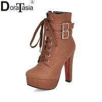 כניסות חדשות DoraTasia פלטפורמת גודל גדול 30-50 נשים חורף סתיו, עקבים גבוהים אופנה נעלי מגפיים קצרים חום בז 'שחור