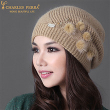 Купить с кэшбэком Charles Perra Women Hats Winter Thicken Double Layer Rabbit Hair Knitted Hat Elegant Casual Wool Cap Female Beanies 2010
