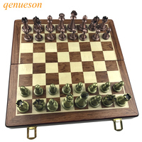 Classic Zinc Alloy Chess Pieces Wood Grain Board Chess Game Outdoor Leisure Entertainment Golden High Quality