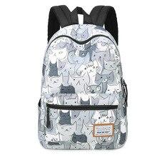 Человек Er Wei кошка печать рюкзак моды холст рюкзак женщины ноутбук Школьные ранцы для подростков Bookbag изображениями животных Рюкзаки