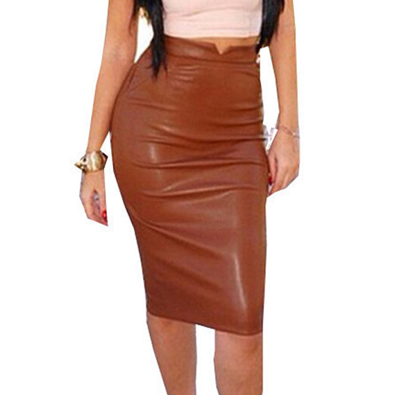 Women Fashion Skirt 2016 Blue Grey PU Leather Pencil ...