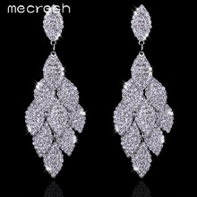 Mecresh Silver Color Crystal Rhinestone Leaf Shape Wedding Long Earrings for Bride Bridesmaid Party Prom Jewelry EH593