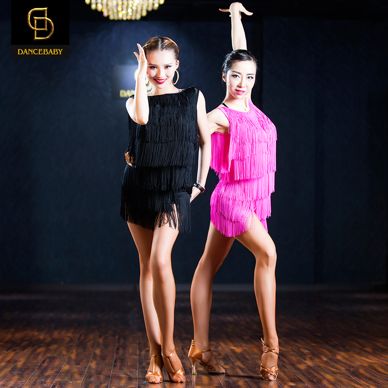 Show details for 2017 Woman New Professional Black\/Pink  Fringed Latin Dance Skirt Tassel Elastic Dress Rumba\/Samba Dance Practice Dress