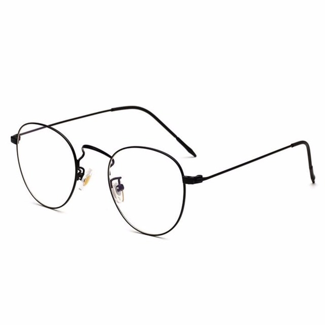 7fd51e2fa6 Retro Round Metal Frame Glasses Clear Lens Filter Blue Light UV Fashion  Nerd Computer Eyeglasses Women Men Anti-fatigue Eyewear