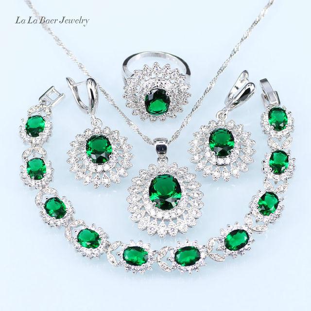 Molto L & B Russo verde creato Smeraldo Anello Orecchini di Pendente D  LX15