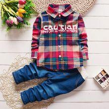 2017 Spring Kids Warm Kids Costumes Set Boy Children's Fashion Plaid Suit Boys Clothes Baby Kids Clothing Sets Boy Outfits Brand