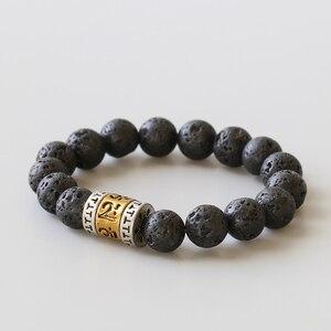 Мужской браслет ручной работы 10 мм из лавы, камня, античной мантры, Мани Падме, ХУМ, подарок для мужчин, религиозная карма, Wrsit, ювелирное изде...