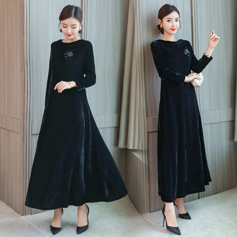 bad44c5b58bc Long sleeve velvet dress women maxi elegant plus size large green winter  autumn 2019 vintage party robe dresses black clothes | Hot Selling Products