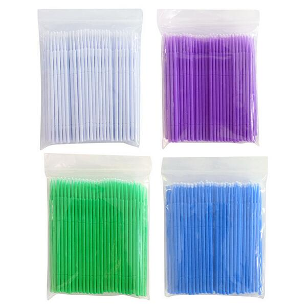 100pcs/pac Mascara Brush Swab Cotton Cleaning Rod Durable Micro Eyelash Extension Individual Applicators Makeup Tool Wholesale