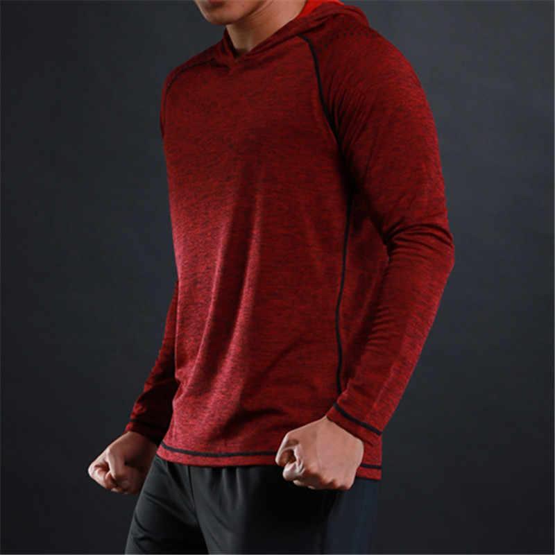 Wosawe Pria Gym Kemeja Hoodie Pusat Sweatshirt Cepat Kering Pakaian Lengan Panjang Pelatihan Kaos Olahraga kemeja