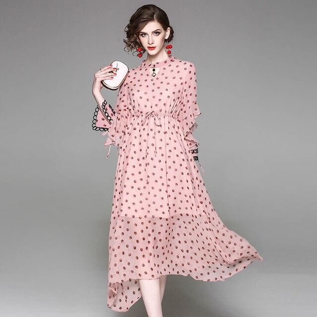 e895fca9c98 Pink polka dot long chiffon dress women spring summer dot print chiffon long  dress pink bohemian