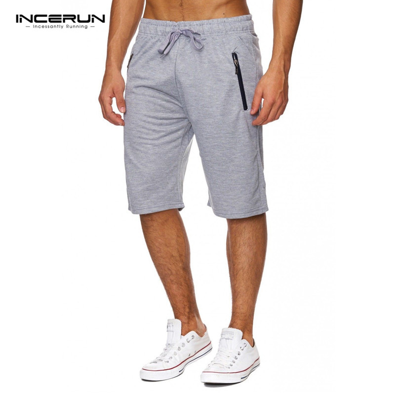 INCERUN Mens Gyms Fitness Cotton Shorts Casual Bodybuilding Joggers Workout Male Knee-Length Short Pants Brand Sweatpants