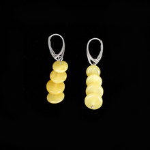 JIUDUO jewelry Genuine luxury New butter yellow honey wax female 925 sterling silver allergy amber earrings fashion wild mail