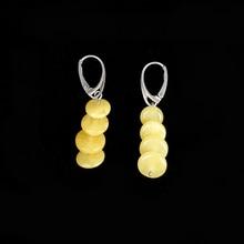 JIUDUO jewelry Genuine luxury New butter yellow honey wax female 925 sterling silver allergy amber earrings fashion wild mail