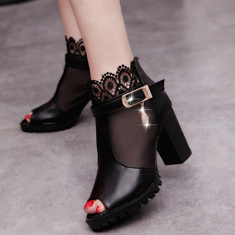 2017 New Spring Autumn Thick High Heeled Pumps Woman Round Toe Lacing Female Platform Casual Office Lady Shoes red bottom heels lace up women shoes pumps new spring autumn round toe female casual high heels casual shoes platform woman size 43