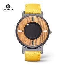 Relogio Masculino EUTOUR Magnetic Watch Men Luxury Fashion Man Quartz Wrist Watch Waterproof Canvas Magnet Wood Watch 2019