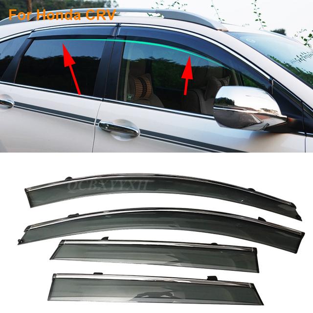 Stylingg toldos abrigos 4 pçs/lote viseiras da janela do carro para honda crv 2007-2016 sol chuva escudo adesivos covers