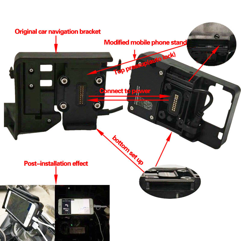 For Honda Motorcycle USB Charging 12MM Mobile Phone Navigation Bracket ADV F700 800GS CRF1000L Africa Twin For BMW R1200GS Mount