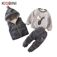 Baby Boys Girls Winter Sets Kids WaistCoat + Sweatshirt + Pants 3pcs Warm Infant Cotton Deer Clothing Suit Toddler 1 3 years