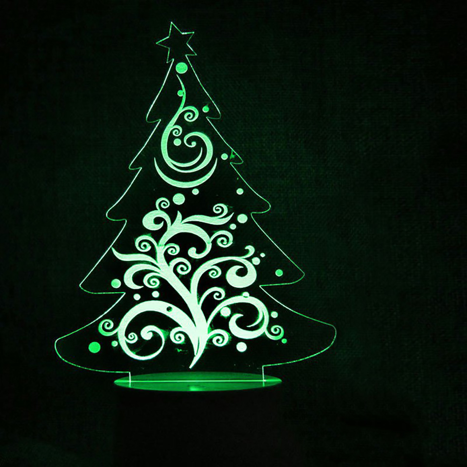 7 Color Changing 3D Visual Christmas Tree Modelling Led Night Light Kids Touch Button Usb Bedroom Sleep Luminaria Desk Lamp Gift