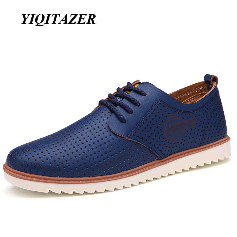 YIQITAZER 2017 New Summer Fashion Casual Shoes Men,Breathable Cool Lace up High Quality Man Leather Shoes Size 7-9.5 casual shoes men breathable new fashion men dress shoes good quality working shoes size 38 44 aa30064