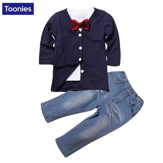 Autunm Children's Clothing Sets Long Sleeve Coat  White T shirts  Jeans 3 pieces Sets Toddler Boys Suit Cotton Baby Kids Clothes