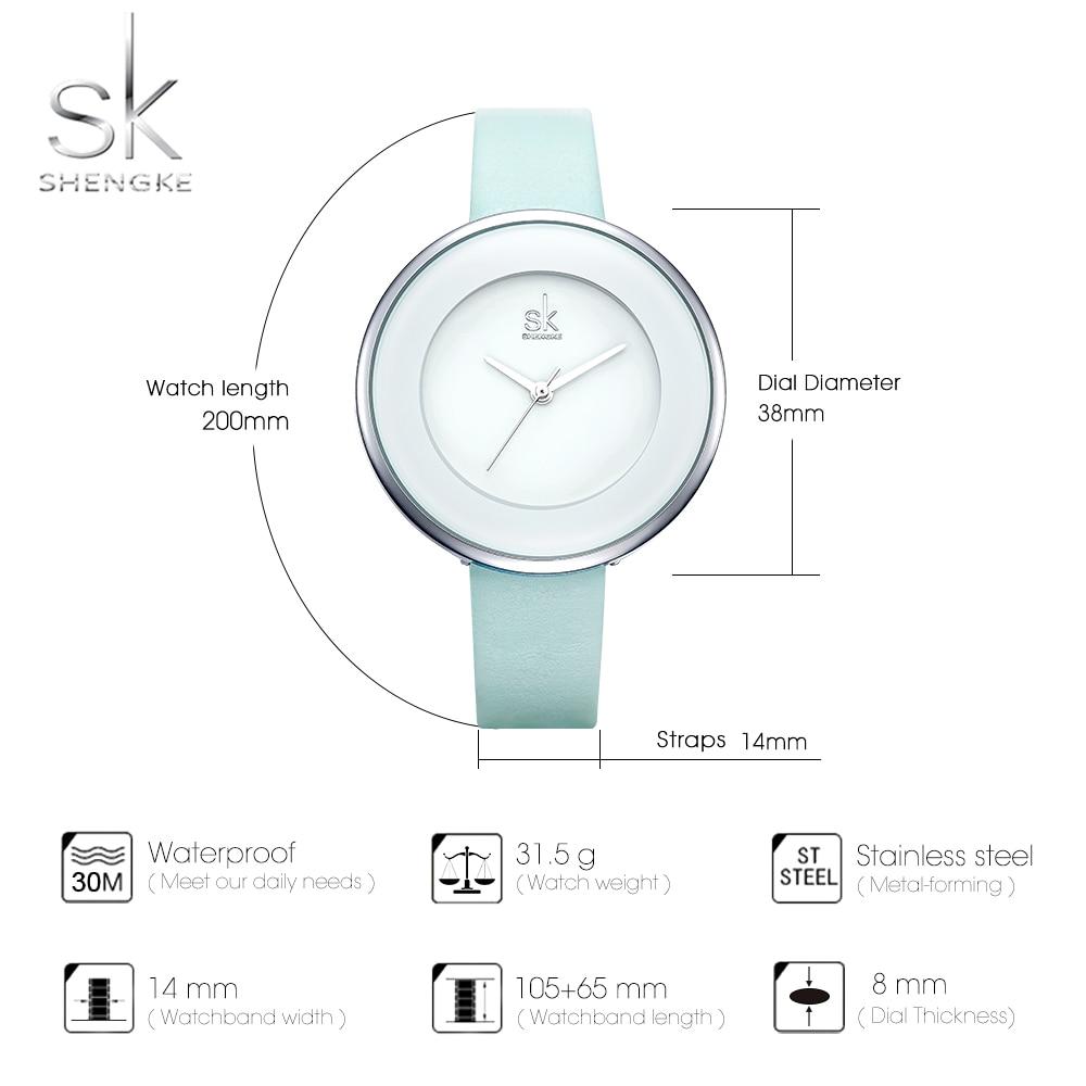 Shengke Brand Women Luxury Watches Female White Leather Wristwatch Mixmatch Dress Quartz Clock Ultra Thin Relogio Feminino 2018 5