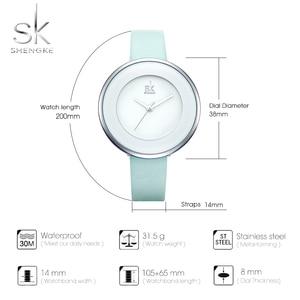 Image 5 - Shengke relojes de lujo para mujer, reloj de pulsera femenino de cuero blanco, de cuarzo con vestido combinado, Ultra delgado, 2020