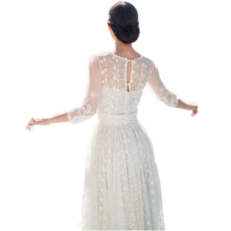 Boho Chic magnifique blanc élégant dentelle évider broderie longue robe femmes mode Maxi robe soirée soirée plage robe
