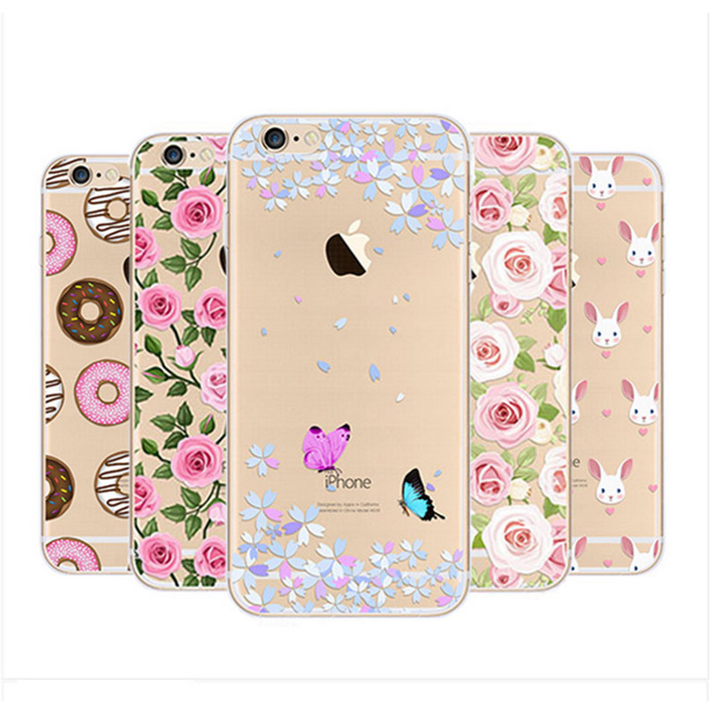 Mobile Phone Bags & Cases: Flower Pattern Transparent Soft Silicon TPU phone Case for iPhone 5s 6 6s plus Phone cases for iphone 7 plus cover case