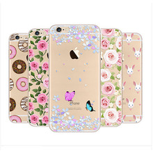 Newest Fashion Colorful Phone Cases soft TPU for Apple iPhone 6 6S case cover 6S Plus case Waterproof Transparent Flower Pattern