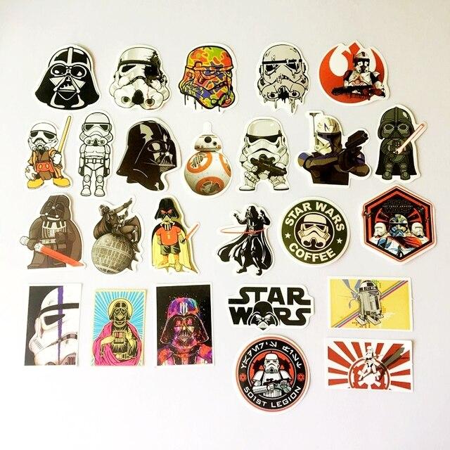 25 Pcs Star Wars Jenis Tahan Air Hitam Putih Samurai Stiker Partai