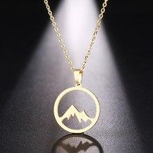 Ожерелье DOTIFI из нержавеющей стали для женщин и мужчин, подвеска в виде горного холма золотого и серебряного цвета, ожерелье, ювелирные издел...