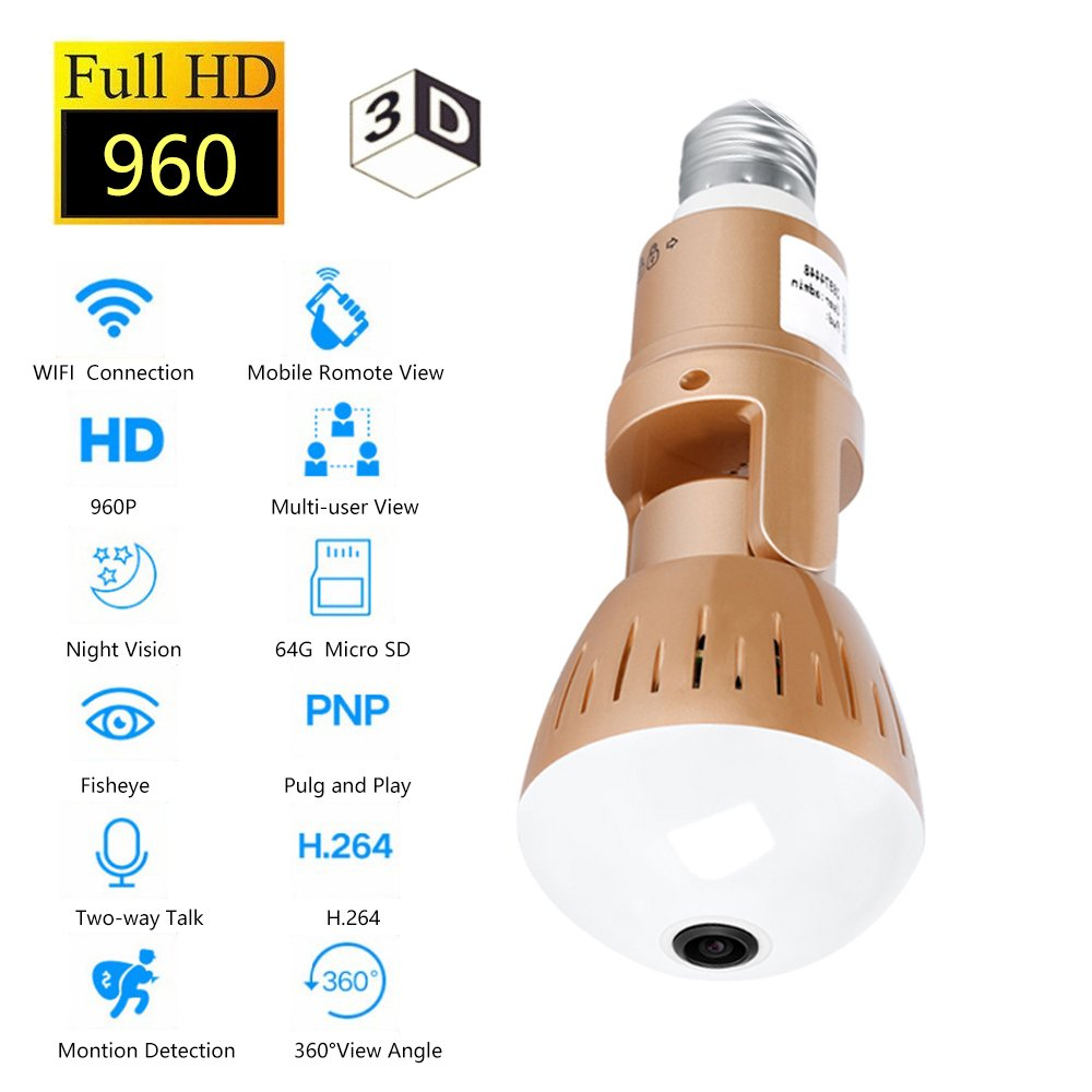 Aggressiv 360 Grad Video Kamera Wifi Drahtlose 1.3mp 960 P Full Hd Digital Kamera Fisheye Fernbedienung 360 Lampe Licht Smart Kameras 2019 Offiziell