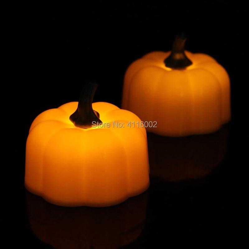 12 set di 12 pz/set Mini LED Arancione Zucca Candele Halloween di Buona Qualità Flicker Per La Festa di Halloween Decorazioni Per La Casa-in Candele da Casa e giardino su  Gruppo 1