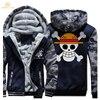 HAMPSON LANQE Japan Anime One Piece Luffy Skull Fashion Zipper Hoodies Men 2017 Winter Warm Plus