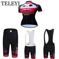 TELEYI 2016 Women Cycling Jersey Cycling Clothing Short Sleeve (Bib) Shorts Set Ropa Ciclismo T-Shirt Wear
