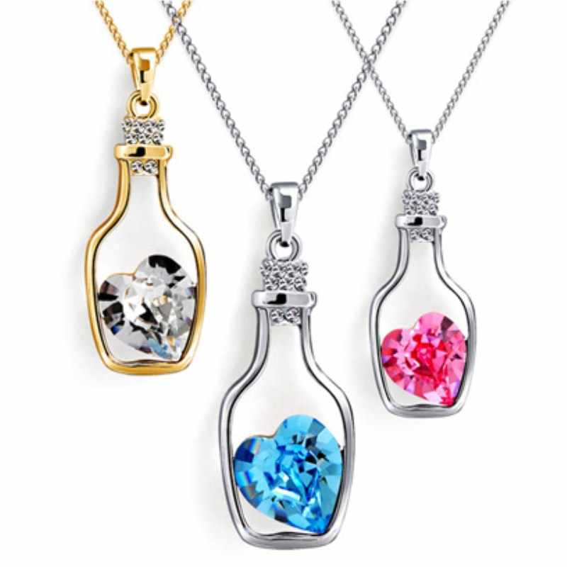 NK712 Fashion Punk Pink Blue Collares Men Wish Bottle Crystal Heart Pendant Necklace For Women Chain Jewelry Statement collier