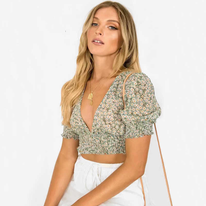 2019 print blouse  Women Deep V Neck Floral Print Shirred Crop Top with Puff sleeves Little Daisy Crop Blouse