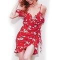2017 Лето Dress Цветочным Принтом Холодной Плечо Рюшами Vestidos Женщины Высокой Талией Ремень Шифон Beach Dress Boho Партии Сексуальные Платья