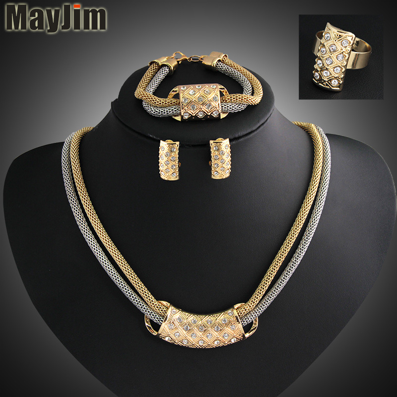 Hot New Women Fashion Jewelry Sets vintage Double chain Crystal Necklaces Earrings Bracelet adjustable ring female