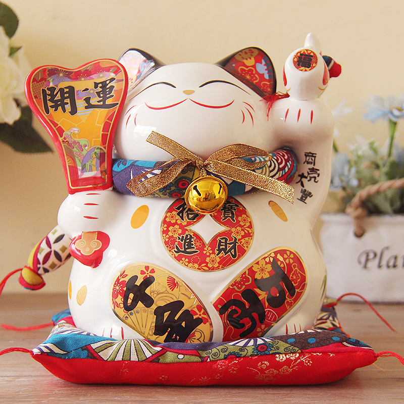 Lucky Cat opened large 9 inch Japanese ceramic ornaments to save the living room feng shui decoration gift boxLucky Cat opened large 9 inch Japanese ceramic ornaments to save the living room feng shui decoration gift box