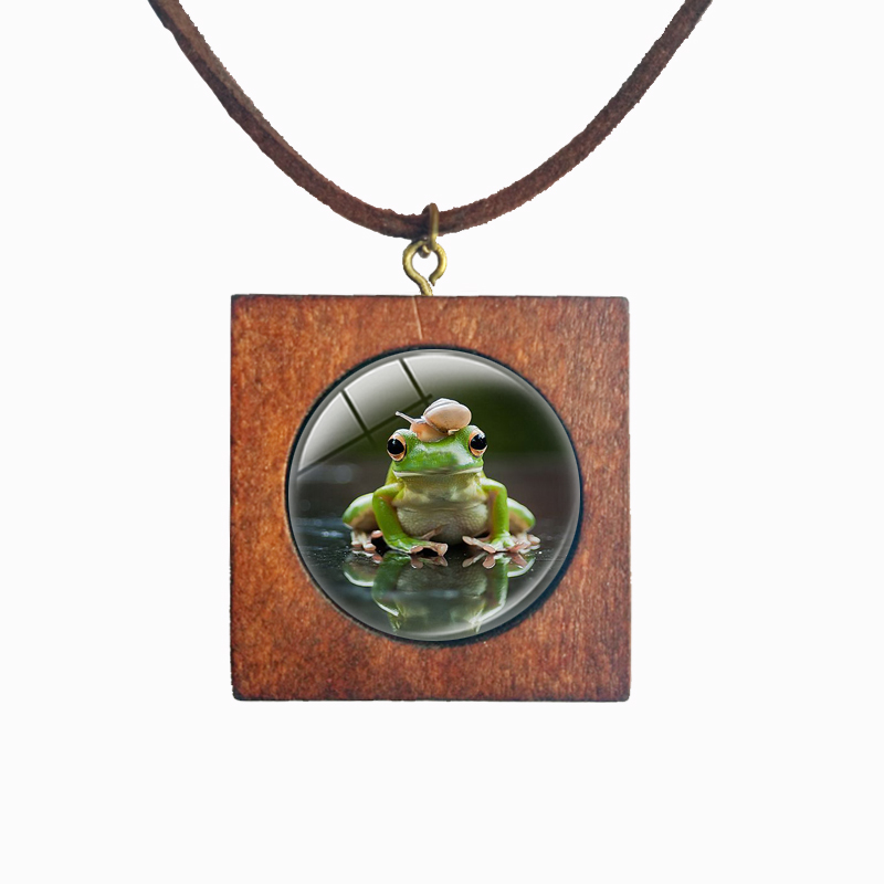 Hitching a ride Frogs and snails Wood Square Necklace Faux Velvet Cords Valentines Day gift Handcrafted Jewelry bijou