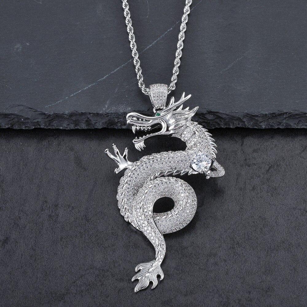 Hommes de luxe Hip Hop plein CZ pierre pendentif de bon augure en acier argenté AAA Zircon chinois dominateur Dragon collier femmes chaînes