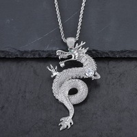 Mens Luxury Hip Hop Full CZ Stone Auspicious Pendant Silver Steel AAA Zircon Chinese Domineering Dragon Necklace Women Chains