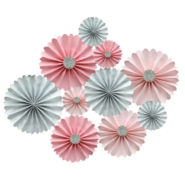 pink and silver glitter rosette backdrop paper fans candy buffet