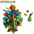Brinquedos De Madeira de Frutas UTOYSLAND Presente Do Ornamento Do Natal Árvore Verde Enfiar Contas Amarrando Brinquedo Blocos de Construção e Jogar